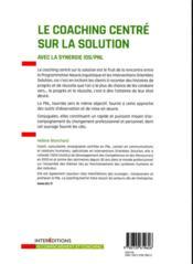 Le coaching centré sur la solution (2e édition) - 4ème de couverture - Format classique