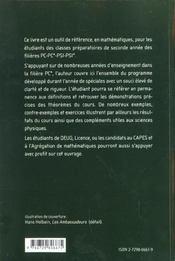 Cours De Maths Pc-Pc* - 4ème de couverture - Format classique