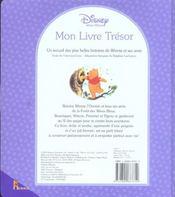 Mon livre trésor ; winnie l'ourson - 4ème de couverture - Format classique