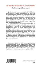 Le droit international et la guerre ; évolution et problèmes actuels (2e édition) - 4ème de couverture - Format classique