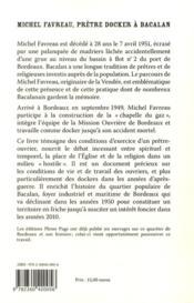 Michel Favreau ; prêtre docker à Bacalan (1949-1951) - 4ème de couverture - Format classique