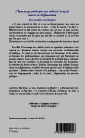 Hommage politique aux soldats francais morts en Afghanistan ; une analyse sociologique - Couverture - Format classique