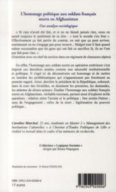Hommage politique aux soldats francais morts en Afghanistan ; une analyse sociologique - 4ème de couverture - Format classique