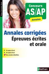 Annales corrigées ; concours AS/AP ; épreuves écrites et orales (édition 2014) - Couverture - Format classique