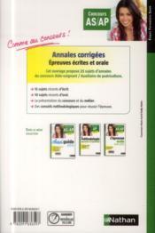 Annales corrigées ; concours AS/AP ; épreuves écrites et orales (édition 2014) - 4ème de couverture - Format classique
