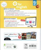 E FOR ENGLISH ; anglais ; 5e ; workbook (édition 2017) - 4ème de couverture - Format classique