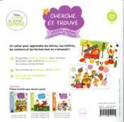 Cherche et trouve ; lettres, chiffres, couleurs et formes ; PS - 4ème de couverture - Format classique