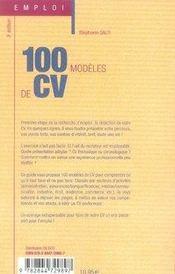 100 modèles de cv (3e édition) - 4ème de couverture - Format classique