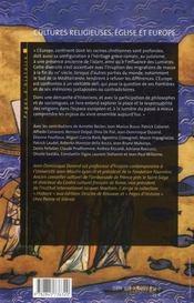 Cultures religieuses, églises et Europe - 4ème de couverture - Format classique