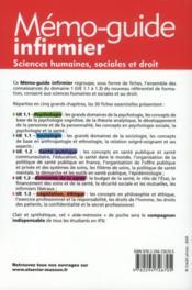 Sciences humaines, sociales et droit ; UE 1.1 à 1.3 ; mémo-guide infirmier - 4ème de couverture - Format classique