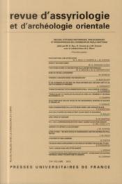Revue D'Assyriologie Et D'Archeologie Orientale N.106 - Couverture - Format classique