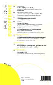 REVUE POLITIQUE EUROPEENNE T.41 ; varia - Couverture - Format classique