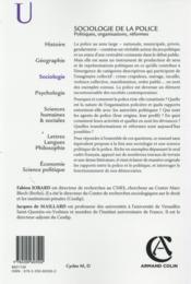 Sociologie politique de la police - 4ème de couverture - Format classique