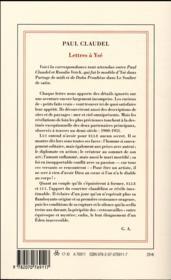 Lettres à Ysé - 4ème de couverture - Format classique