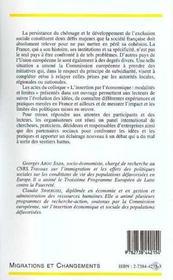 L'Insertion Par L'Economie ; Modalites Et Limites - 4ème de couverture - Format classique