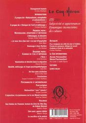 Coq heron 175 - subjectivite et appartenances - 4ème de couverture - Format classique