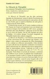 Le Miracle De Theophile Ou Comment Theophile Vint A La Penitence - 4ème de couverture - Format classique