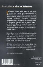 Piste De Salonique, La - 4ème de couverture - Format classique