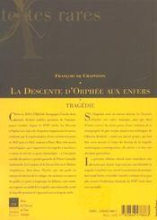 La descente d'orphee aux enfers tragedie, 1640 - 4ème de couverture - Format classique