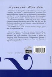 Argumentation et débats publics - 4ème de couverture - Format classique