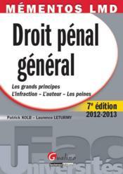 Droit pénal général (7e édition) - Couverture - Format classique