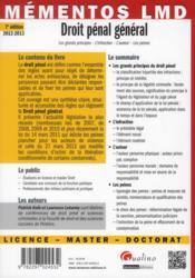 Droit pénal général (7e édition) - 4ème de couverture - Format classique