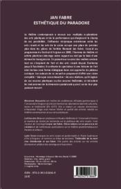 Jan Fabre, esthétique du paradoxe - 4ème de couverture - Format classique