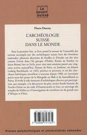 L'archéologie suisse dans le monde - 4ème de couverture - Format classique