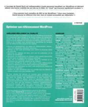 Optimiser son référencement WordPress ; référencement naturel (SEO) (4e édition) - 4ème de couverture - Format classique