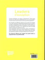 Leaders d'exception ; stratégies et conseils de 25 dirigeants internationaux - 4ème de couverture - Format classique