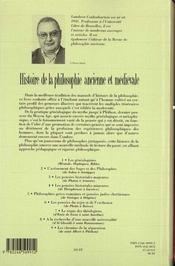 Histoire de la philosophie ancienne et médiévale - 4ème de couverture - Format classique