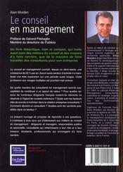 Le conseil en management - 4ème de couverture - Format classique