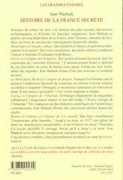 Histoire de la france secrete t1 - 4ème de couverture - Format classique