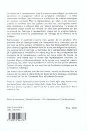 Representation et modernite travaux de doctorants en esthetique de l'ecole doctorale arts plastiques - 4ème de couverture - Format classique
