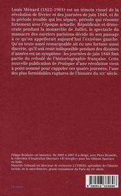 Prologue d'une révolution ; février-juin 1848 - 4ème de couverture - Format classique