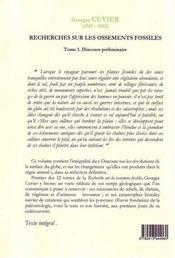 Recherches sur les ossements fossiles t.1 ; discours préliminaire ; anatomie des catastrophes - 4ème de couverture - Format classique
