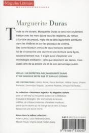 Le Magazine Litteraire ; Marguerite Duras - 4ème de couverture - Format classique