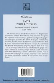 Bâtir pour les tsars ; architectes tessinois en Russie 1700-1850 - 4ème de couverture - Format classique