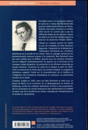 Max Reinhardt ; l'avènement du metteur en scène - 4ème de couverture - Format classique