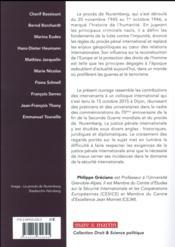 Justice pénale internationale ; les nouveaux enjeux de Nuremberg à La Haye - 4ème de couverture - Format classique