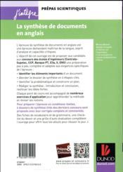 La synthèse de documents en anglais ; méthode et exercices ; concours Centrale-supélec, e3a, X et ENS - 4ème de couverture - Format classique