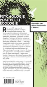 Psychologie positive et écologie ; enquête sur notre relation émotionnelle à la nature - 4ème de couverture - Format classique