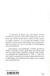 À l'ombre d'un tilleul : les vies des soeurs d'Unterlinden - 4ème de couverture - Format classique