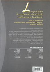 Les pratiques de recherche biomédicale visitées par la bioéthique - 4ème de couverture - Format classique
