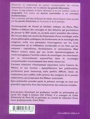Max weber ; vie, oeuvres, concepts - 4ème de couverture - Format classique