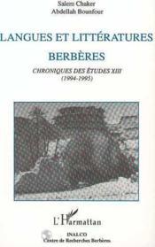 Langues Et Litteratures Berberes.Chroniques Des Etudes - Couverture - Format classique