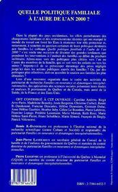 Quelle Politique Familiale A L'Aube De L'An 2000 ? - 4ème de couverture - Format classique