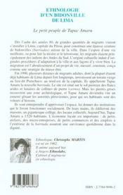 Ethnologie D'Un Bidonville De Lima ; Le Petit Peuple De Tupac Amaru - 4ème de couverture - Format classique