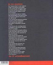 Je me souviens 12e arrond 2ed (édition 2001) - 4ème de couverture - Format classique