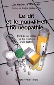 Le dit et le non dit en homeopathie - Couverture - Format classique